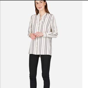 Everlane The Relaxed Collarless Silk Shirt